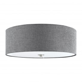 Pasteri Flush Ceiling Light With Grey Linen Shade And Glass Diffuser 96366