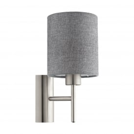 Pasteri Single Wall Light In Satin Nickel With Linen Grey Shade 96373