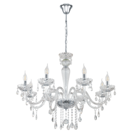 Paularo 8 Light Ceiling Chandelier In Chrome Finish With Clear Glass 39108