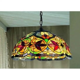 PCH91 and T107 Burlesque Tiffany 3 Light Ceiling Pendant