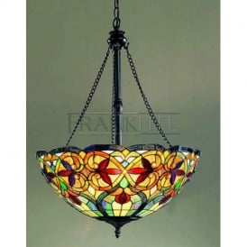 PCH92 and T108 Burlesque Tiffany 3 Light Hanging Ceiling Uplighter