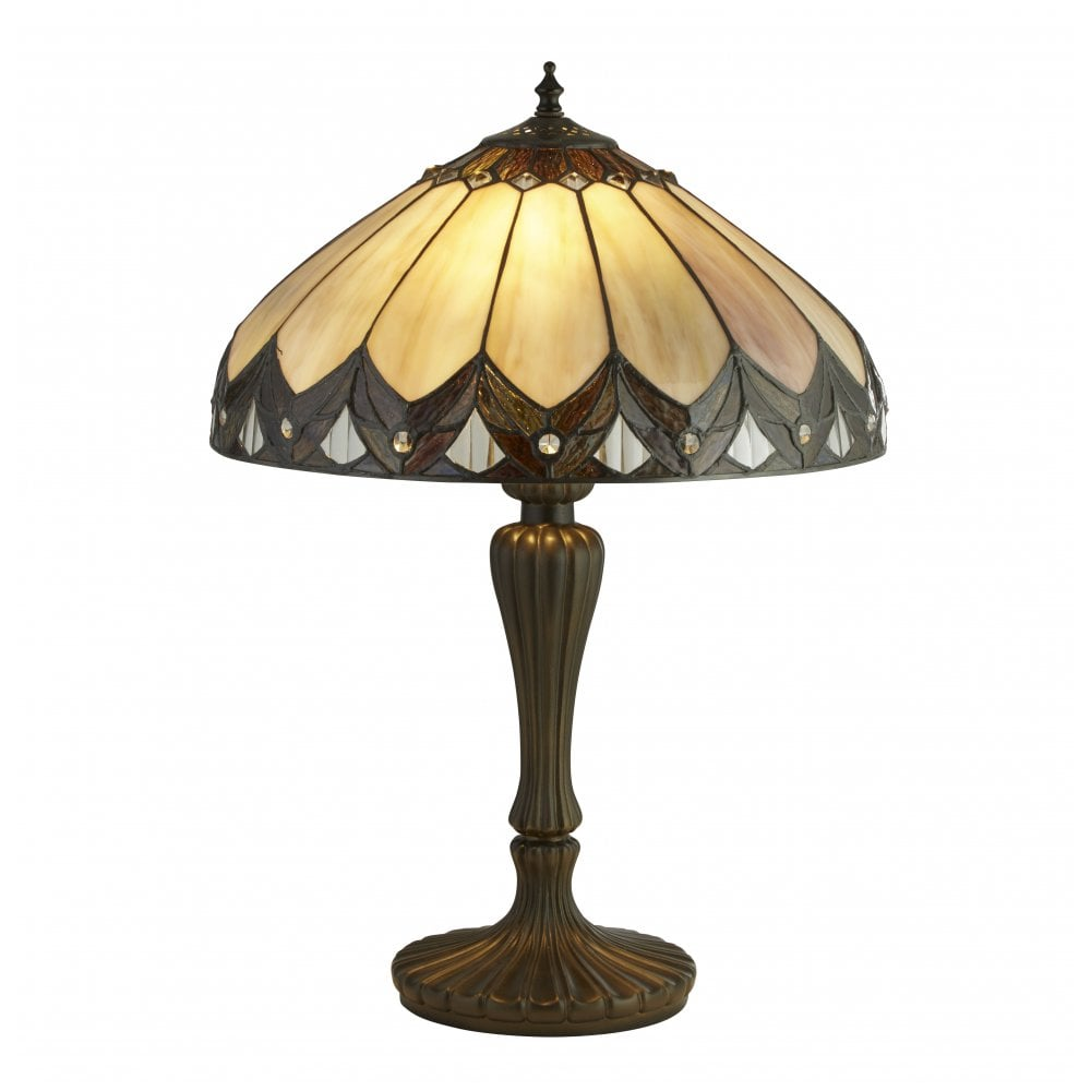 Searchlight Pearl Tiffany Table Lamp In Antique Brass Finish 6705 40