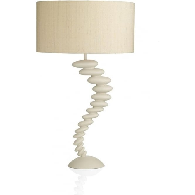 Dar Lighting PEB4233 Pebble Table Lamp in Cream Finish Complete with Taupe Faux Silk Shade