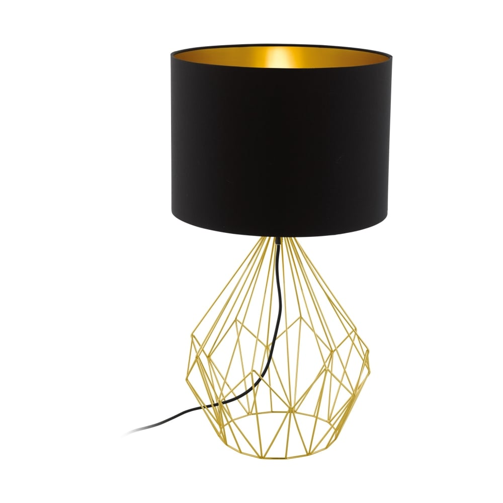 Etonnant Pedregal Modern Table Lamp In Brass With Black And Gold Shade 95186
