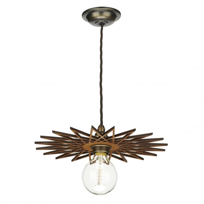 Dar Lighting Pegasus 250 mm Wooden Easy Fit Ceiling Pendant Lampshade PEG8643
