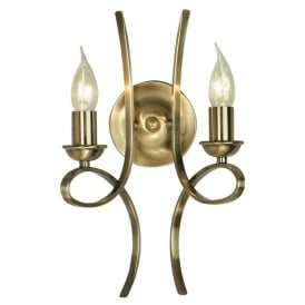 Penn Twin Wall Light in Brushed Brass Finish CA7W2BB