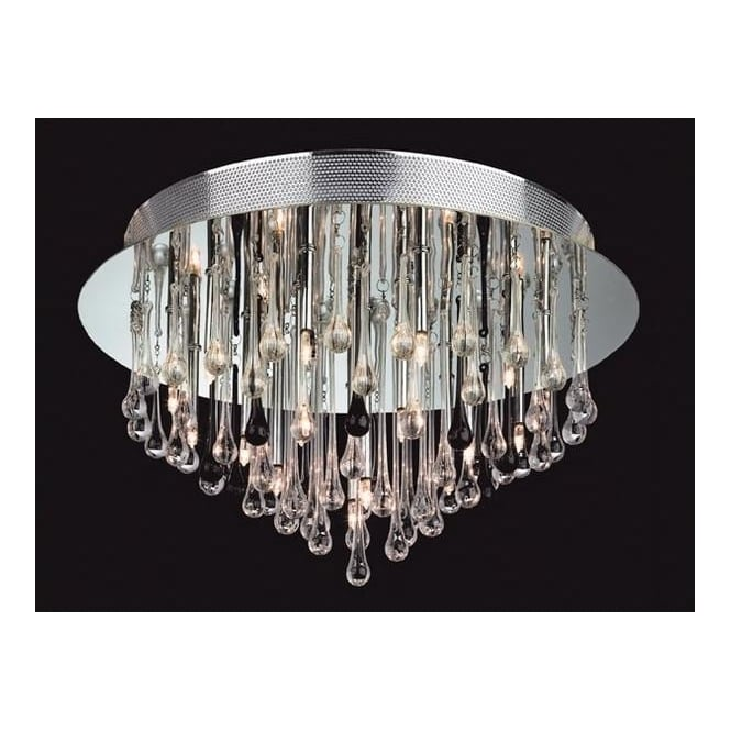 Firstlight Perla 3321 Clear and Black Flush Ceiling Fitting