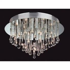 Perla 3321 Clear and Black Flush Ceiling Fitting