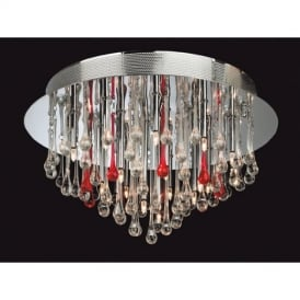 Perla 3321 Clear and Red Flush Ceiling Fitting