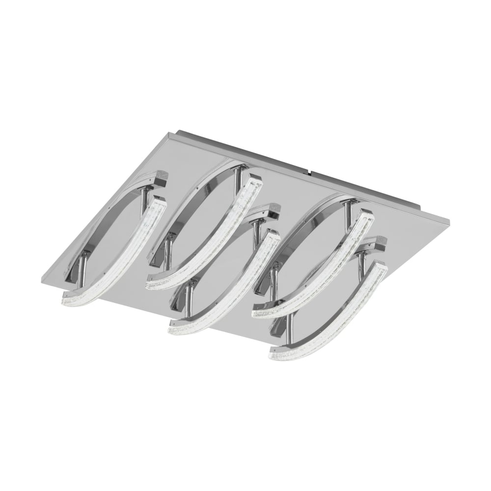 Eglo lighting pertini stylish 5 light square led flush ceiling fitting in chrome finish 96095
