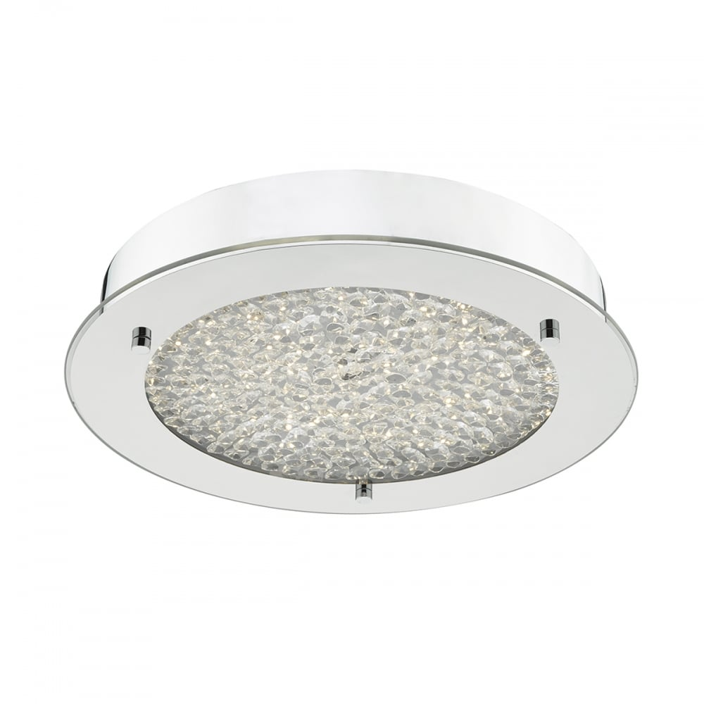 Dar Lighting Peta LED Bathroom Flush Ceiling Light in Polished ...