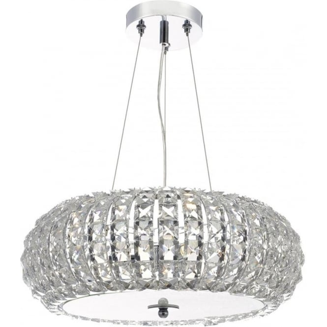 Dar Lighting Piazza 3 Light Crystal Ceiling Pendant Light PIA0350