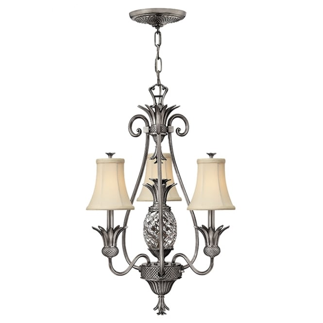 Hinkley Plantation Decorative 4 Light Chandelier In Antique Nickel Finish With Shades HK/PLANT3 PL
