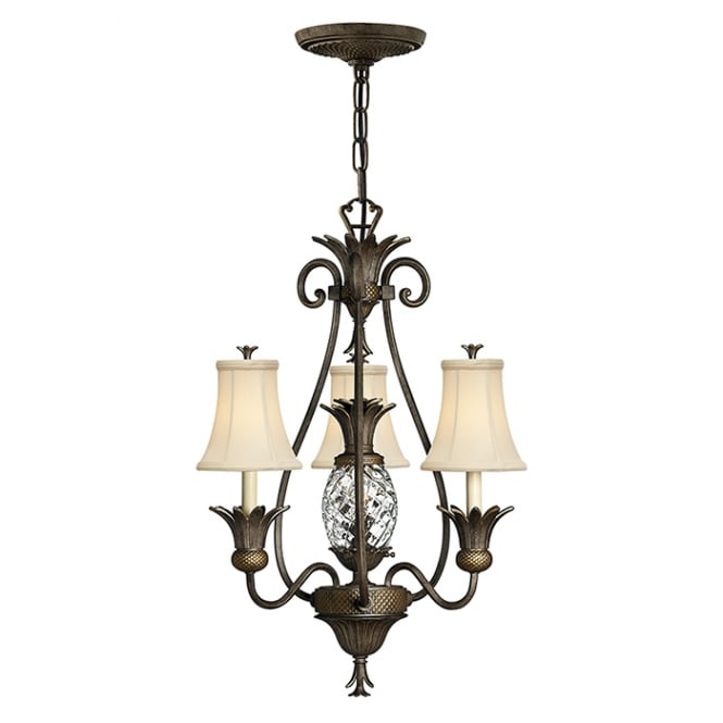 Hinkley Plantation Decorative 4 Light Chandelier In Pearl Bronze Finish With Shades HK/PLANT3 PZ