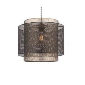 Plexus Non Electric Mesh Ceiling Shade In Matt Black And Antique Brass Finish 72829