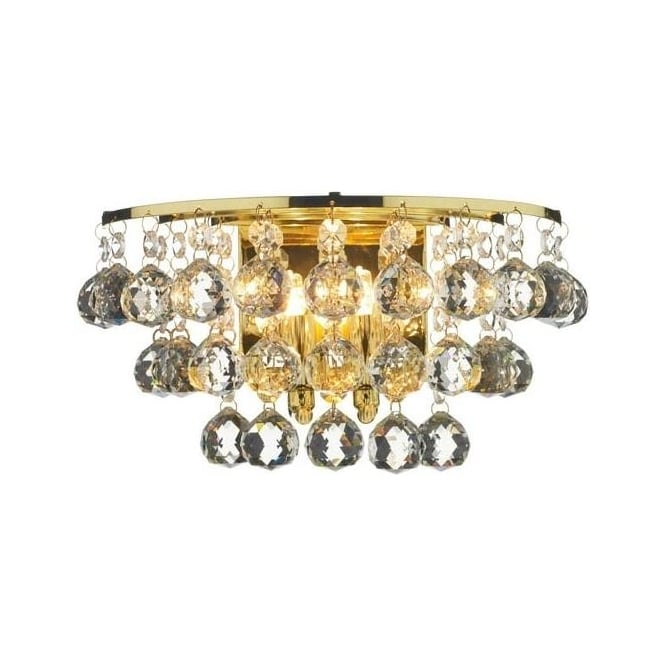 Dar Lighting PLU0940 Pluto 2 Light Polished Brass And Crystal Wall Light