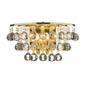 PLU0940 Pluto 2 Light Polished Brass And Crystal Wall Light
