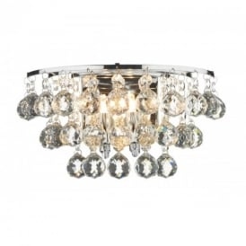 PLU0950 Pluto 2 Light Chrome And Crystal Wall Light