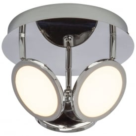 Pluto 3 Light LED Ceiling Spotlight In Chrome With Opal Diffuser G3053415