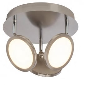 Pluto 3 Light LED Ceiling Spotlight In Satin Nickel With Opal Diffuser G3053413