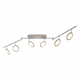 Pluto 6 Light Dimmable LED Ceiling Spotlight In Satin Nickel Finish G3050613