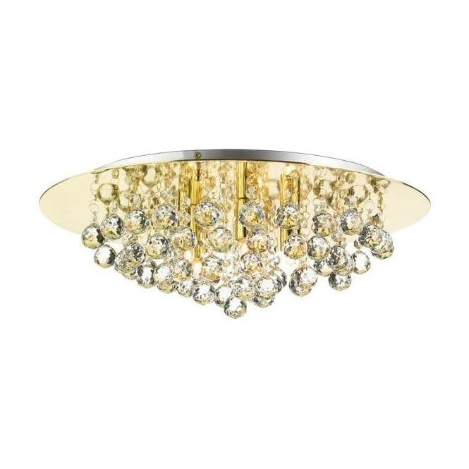 Pluto Crystal Flush Ceiling Light In Polished Brass - PLU5440