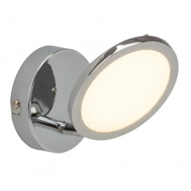 Pluto Single LED Wall Spotlight In Chrome With Opal Diffuser G3051015