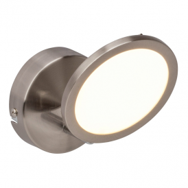 Pluto Single LED Wall Spotlight In Satin Nickel With Opal Diffuser G3051013