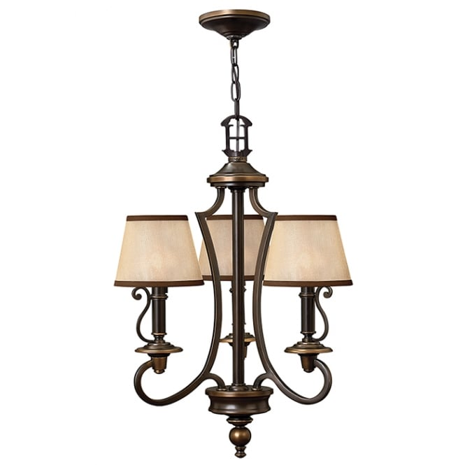 Hinkley Plymouth 3 Light Chandelier In Old Bronze Finish HK/PLYMOUTH3