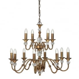 Polina 12 Light Crystal Glass Ceiling Pendant Fitting In Antique Brass Finish LX124P12B