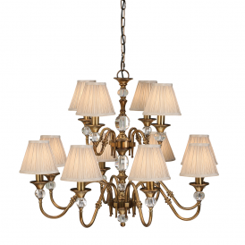 Polina 12 Light Crystal Glass Ceiling Pendant In Antique Brass With Beige Shades 63585