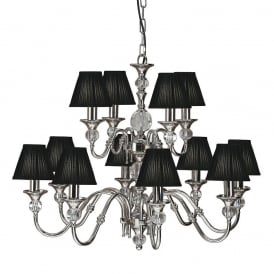 Polina 12 Light Crystal Glass Ceiling Pendant In Nickel Finish With Black Shades 63584