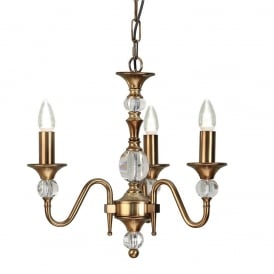 Polina 3 Light Crystal Glass Ceiling Pendant Fitting In Antique Brass Finish LX124P3B