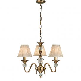 Polina 3 Light Crystal Glass Ceiling Pendant In Antique Brass With Beige Shades 63586