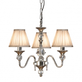 Polina 3 Light Crystal Glass Ceiling Pendant In Nickel Finish With Beige Shades 63579