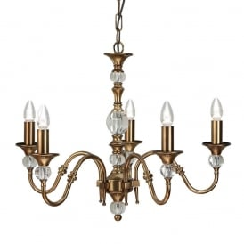 Polina 5 Light Crystal Glass Ceiling Pendant Fitting In Antique Brass Finish LX124P5B