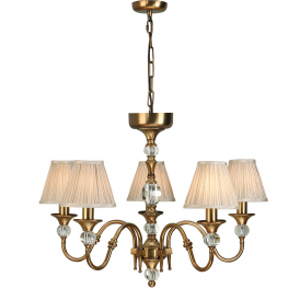 Polina 5 Light Crystal Glass Ceiling Pendant In Antique Brass With Beige Shades 63587