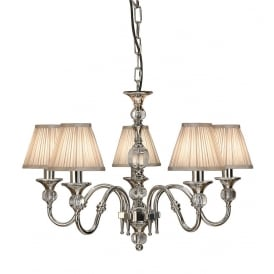 Polina 5 Light Crystal Glass Ceiling Pendant In Nickel Finish With Beige Shades 63580