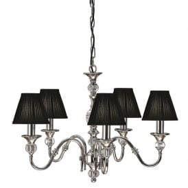 Polina 5 Light Crystal Glass Ceiling Pendant In Nickel Finish With Black Shades 63582