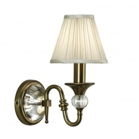 Polina Single Wall Light In Antique Brass Finish With Beige Shade 63598