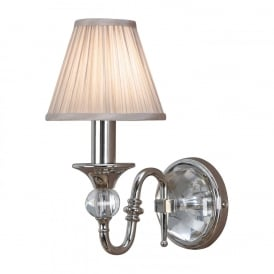 Polina Single Wall Light In Polished Nickel Finish With Beige Shade 63596