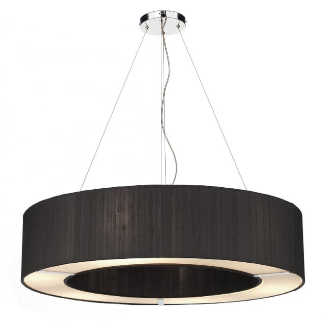 Dar Lighting Polo 50 cm Ceiling Pendant Light With Black Shade POL0422
