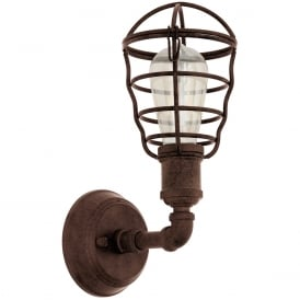 Port Seton Industrial Single Wall Light In Antique Brown Finish 49811