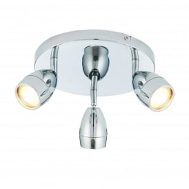 Porto Bathroom Three Light Ceiling Spotlight In Chrome Finish And Clear Glass 73692