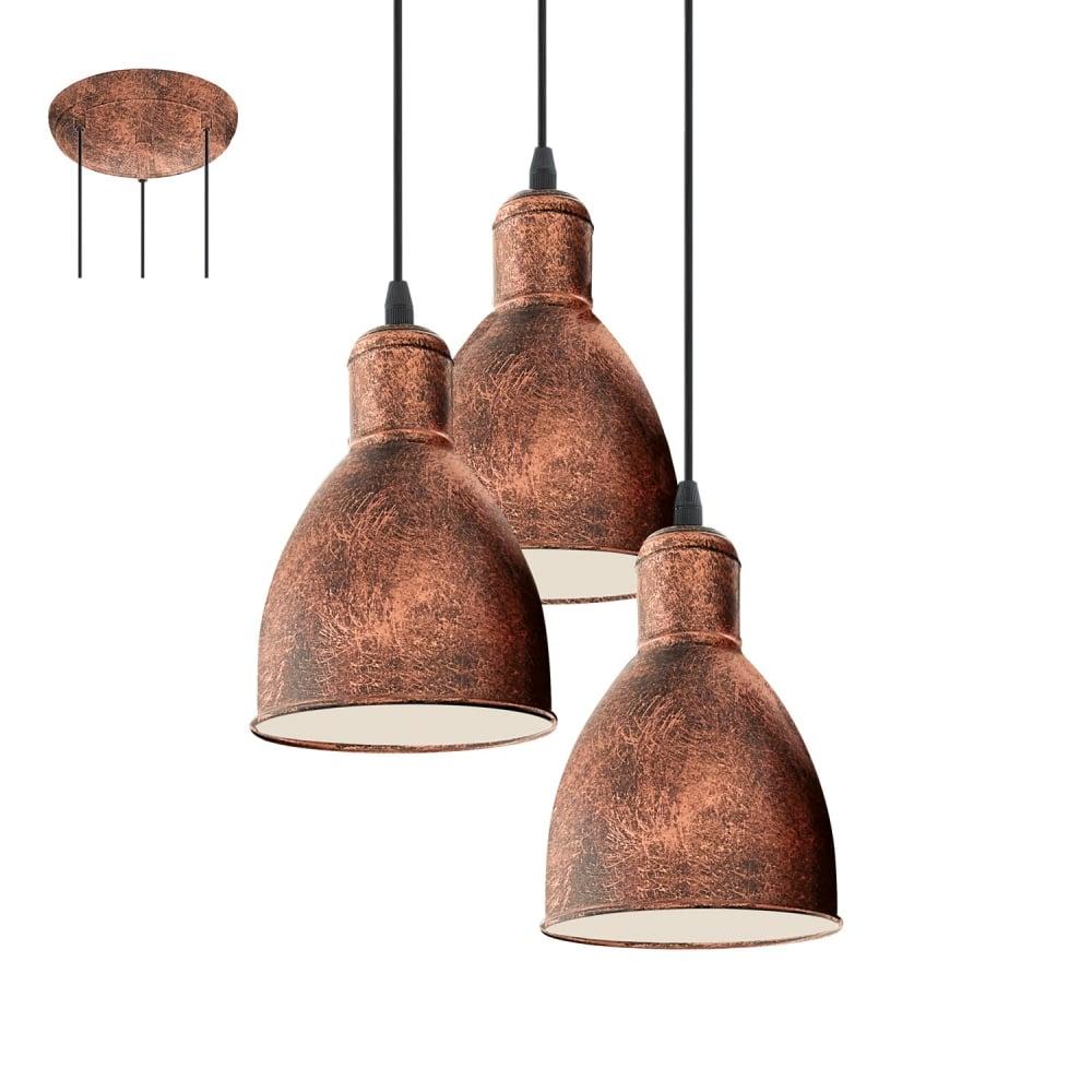 Priddy 1 Vintage 3 Light Ceiling Pendant In Antique Copper Finish 49493