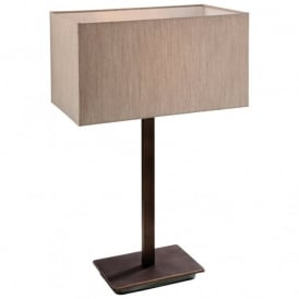 Prince Modern Table Lamp In Bronze Finish With Rectangular Oyster Shade 8329BZ