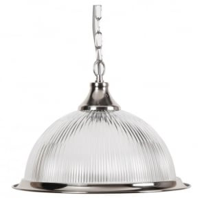 THLC American Diner Single Ceiling Pendant Light in Silver with clear Glass