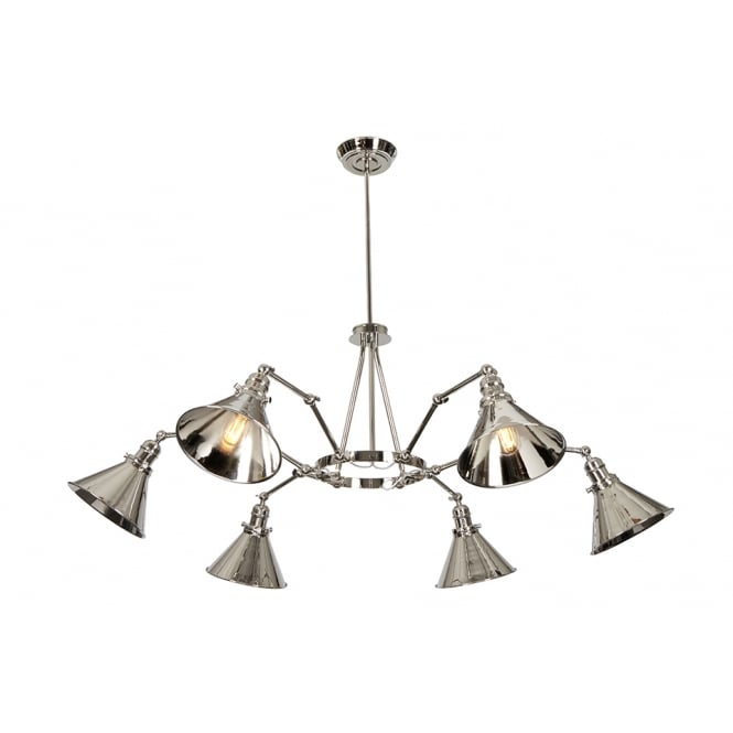 Elstead Provance 6 Arm Ceiling Pendant In Polished Nickel Finish PV6 PN