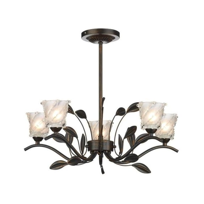 Dar Lighting PRU0563 Prunella Semi Flush Ceiling Fitting In Bronze