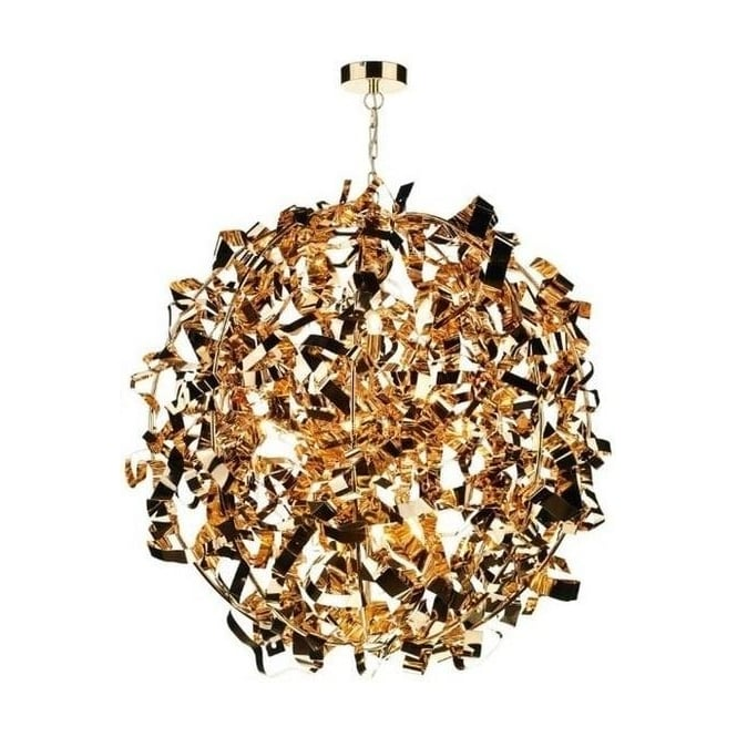 Dar Lighting PUC0835 Puccini 8 Light Metallic Gold Pendant